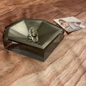 New Kendra Scott antique silver metal faceted dish